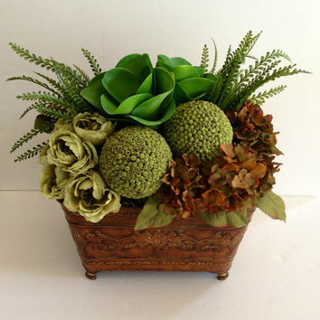 Succulent Hydrangea Rose Moss Deco Ball Traditional Neutral Centerpiece Home Decor Table Silk Floral Arrangement