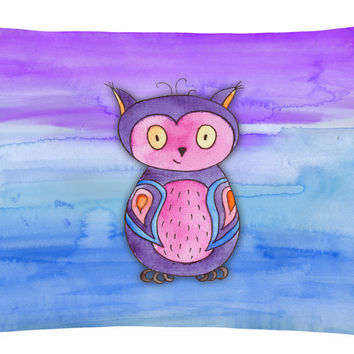Pink and Purple Owl Watercolor Canvas Fabric Decorative Pillow BB7427PW1216