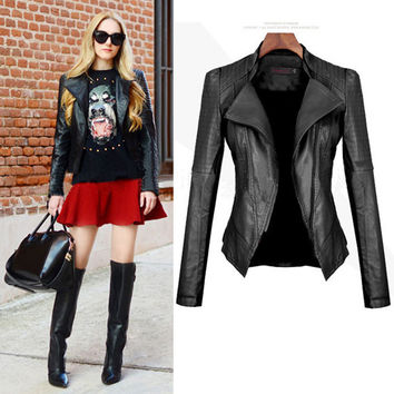 Winter Women's Fashion Stylish PU Leather Slim Ladies Jacket [6369168644]
