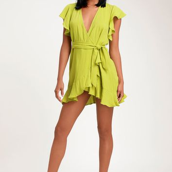 Sunny Days Ahead Lime Green Ruffled Wrap Dress