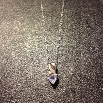 "Tanzanite Diamond 10K Necklace Heart Pendant Italian Italy White Gold Vintage 19"" Chain Romantic Bridal Wedding Prom Birthday Jewelry Boho"