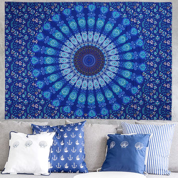 Indian Mandala Wall Hanging Tapestries/Boho Bedspread /Yoga Mat Blanket