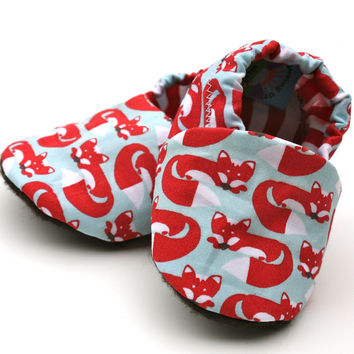 Foxy Feet Organic Baby Shoes Handmade Booties Red Fox Organic Cotton 0 3 6 12 18 months - Baby Clothes Gift for Baby Eco Friendly
