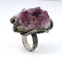 Amethyst Rock Ring SilverRAW Cocktail Ring  by SwankMetalsmithing