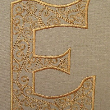 Letter E Monogram Embroidery Design Instant Download