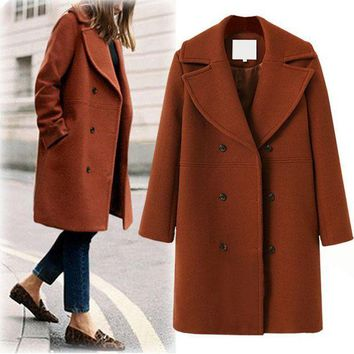 MDIGMS9 Plus Size Women's Fashion Wool Coat Windbreaker [191193579546]