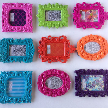 Mini frames place setting table name tag wedding set of 6 any color design baroque