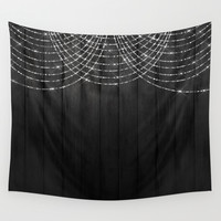 Fairy Lights on Wood 03 Wall Tapestry by Aloke Design