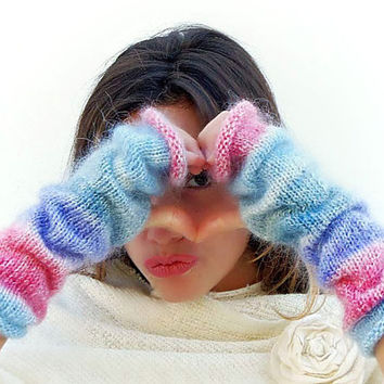 Knit mittens,knit fingerless gloves, Mohair Mittens, Arm Wrist Warmers, Gray, Blue, Purple, Watermelon