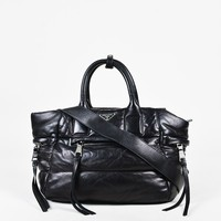 "Prada Black ""Nappa"" Leather ""Bomber"" Satchel Bag"