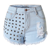 Rivet and Hole Design Denim Shorts