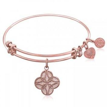 ac NOVQ2A Expandable Bangle in Pink Tone Brass with Celtic Four Knot Good Fortune Symbol
