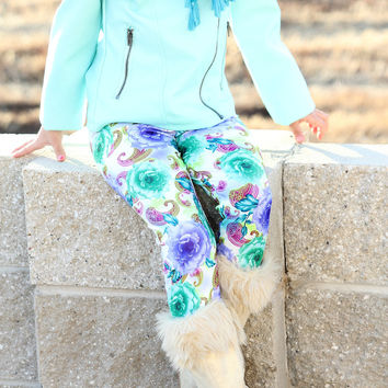 #18 Girls Leggings Purple & Green