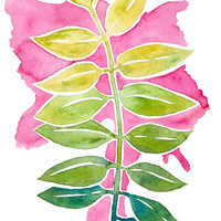 Branch on Pink Print - Archival Quality Watercolor Giclee - Colorful Art