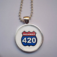 Highway 420 Necklace - Marijuana dome necklace