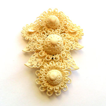 Vintage Celluloid Flower Dress Clip Featherlite White Delicate Lace White Cream Light Weight Bridal Wedding Bride Signed Marked NE