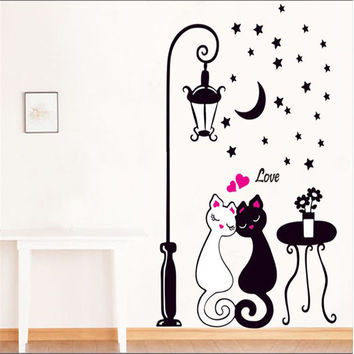 New Arrival Cat Wall Sticker Lamp and Butterflies Stickers Decor Decals Removable Decal