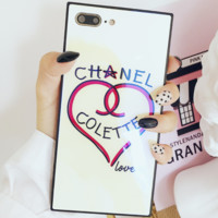 Chanel love glass mirror shell iphoneX mobile phone shell tide brand iphone7/8PLUS protective cover hard shell White