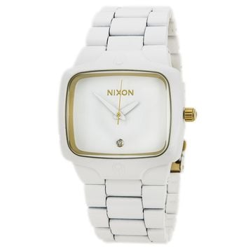 Nixon A1401035 Men's The Player White Dial White Stainless Steel Diamond Watch
