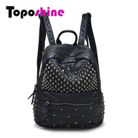 Toposhine Women Backpacks Washed Leather Backpacks Lady Girls Travel Women Bags  Rivet Backpacks Student School Bag Hot 15-107