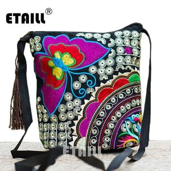 Ethnic Hmong Boho Indian Embroidered Small Shoulder Bag Handmade Fabric Embroidery Logo Luxury Brand Crossbody Bags for Women