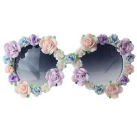 Multi Color Floral Embellished Round Sunglasses