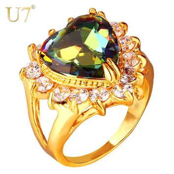 Sterling 18K Yellow Gold Plated Mystic Topaz Ring Heart Halo