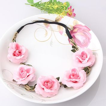 New High Quality Peony Women's Bohemian Floral Headbands Flower Party Wedding Hair Wreaths Hair Band Ornaments Beach Wrap