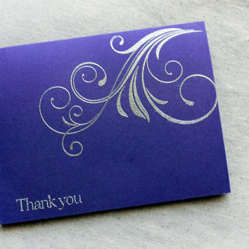 Silver and Purple Thank You Card set of 5, Thank You Notes, Blank Card Set, Silver and Purple Wedding Cards, Metallic Silver thank you cards