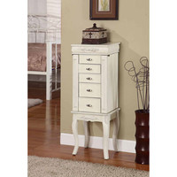 Nathan Direct J1006ARM-M-WW Morris White Wash Five Drawer Jewelry Armoire