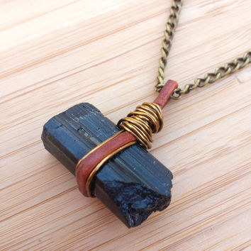 Raw Black Tourmaline Genuine Leather Wire Wrapped Crystal Pendant Necklace-Antique Gold- Crystal Healing