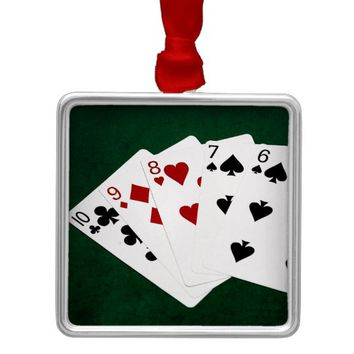Poker Hands - Straight - Ten To Six Metal Ornament