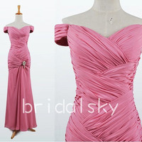 2014 New Arrival Elegant Short Sleeve Lovely Sweetheart Unique Pleating Long Pink Chiffon Formal Party Evening/Prom Dresses