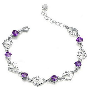 New Romantic Fashion, Simple, Double Heart Purple Crystal Bracelet As An Anniversary Gift