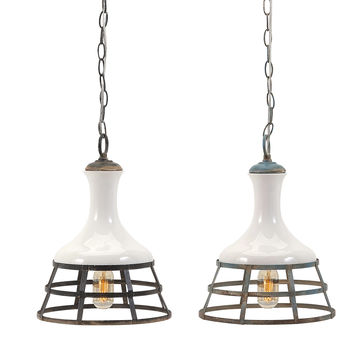 IMAX Captivating Sandra Ceramic and Metal Pendant Lights (Set of 2)