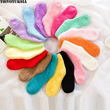 TOIVOTUKSIA Fuzzy Socks for Women Winter Fluffy Doudou Material Thick Warm Fleece Sleep Socks