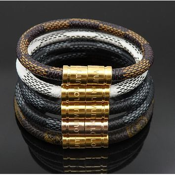 "Hot Sale LV ""Louis Vuitton"" Stainless Steel Bracelet PU Leather Rope Woven Bracelet Accessories I12387-1"
