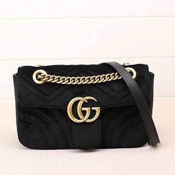 Gucci Women Fashion Trending Leather Satchel Shoulder Bag Crossbody Black G