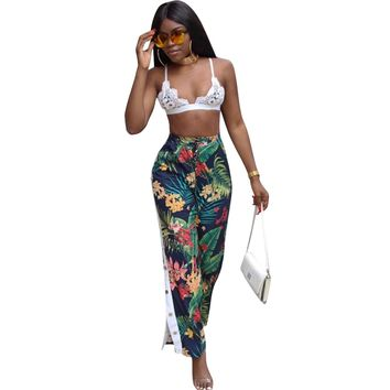 Floral Print High Waist Casual Pants