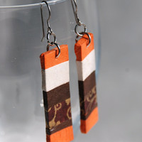 Orange Striped Hanji Paper Earrings OOAK Patchwork Orange Brown Gold Handmade Hypoallergenic hooks Lightweight