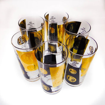 Mid Century Modern Highball Gold Coin Glasses by Bob Wallace. Set of Six