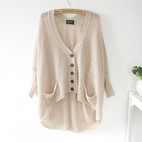 Lazy Loose Bat Hollow Sweater Beige