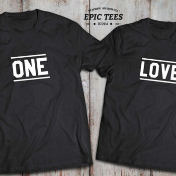 One Love Couple matching T-shirts, One Love Couple matching Shirts 100% cotton Tee, Black/White/Heather Blue/Heather Gray, UNISEX