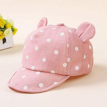 Kids Newborn Toddler Baby Summer Breathable Caps Girl Boy Snapback Cap Dots Little Ear Hats New