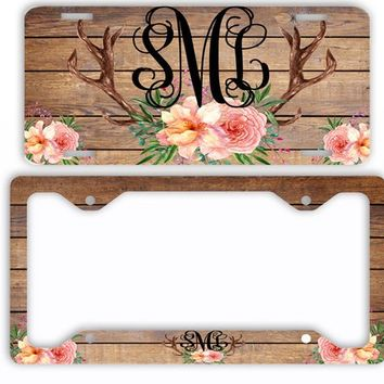 Dark Wood Watercolor License Plate Antlers Flowers License Plate Car Tag Monogram Frame Personalized Set Custom Initials Car Coasters Floral