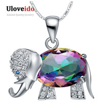 Collier Rainbow Color Elephant Shaped Pendant Necklace 925 Sterling Silver Chain Necklaces Cute Gifts For Girls Ulove N1154