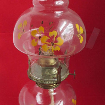 Hand Painted Oil Lamp, Vintage 1980s Yellow Flowered Lamp, Home Decor, Gift Idea