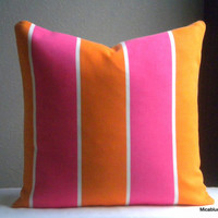 Outdoor cushion and pillow striped orange - Fabric both sides - all sizes available