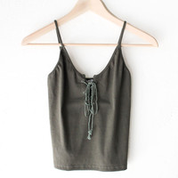 Lace Up Crop Top - Olive