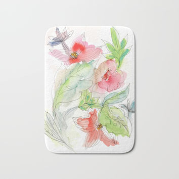 My tropical flowers Bath Mat by Julia Grifol Designs